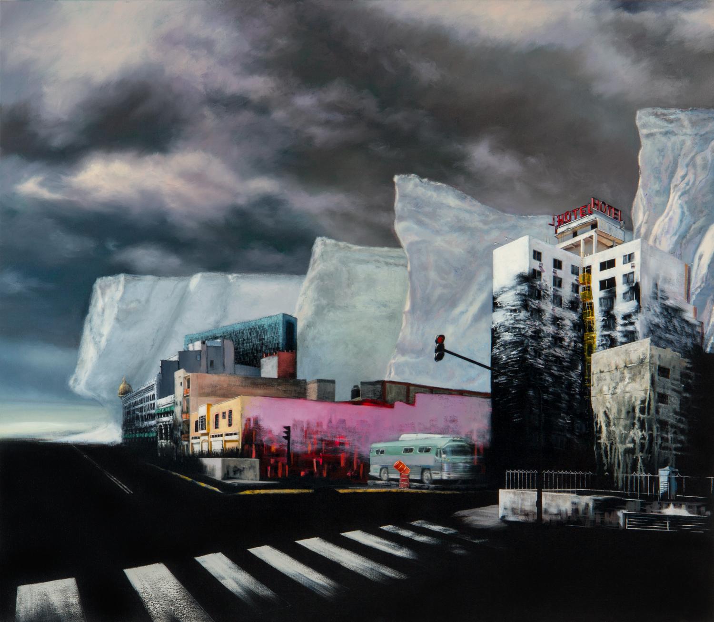 Hotel Transformación, Óleo y acrílico sobre tela,130 x 150 cm, 2010     Transformation Hotel , Oil and acrylic on canvas,51.1 x 59 in,2010
