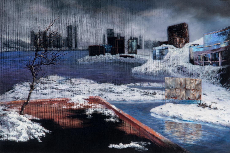 La Apariencia del Árbol ,Óleo y acrílico / tela,60 x 90 cm,2010     The Appearance of the Tree, Oil and acrylic on canvas,1' 11.6''x 2' 11.4'', 2010