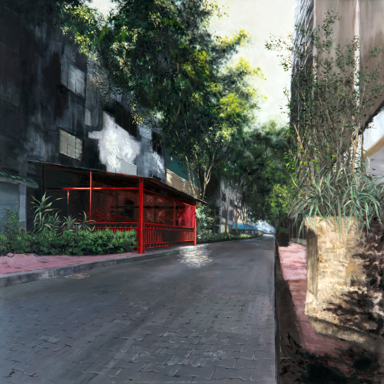 Zona Rosa, Óleo y acrílico sobre tela,150 x 150 cm,2011   Zona Rosa , Oil and acrylic on canvas, 4' 11''x 4' 11'', 2011