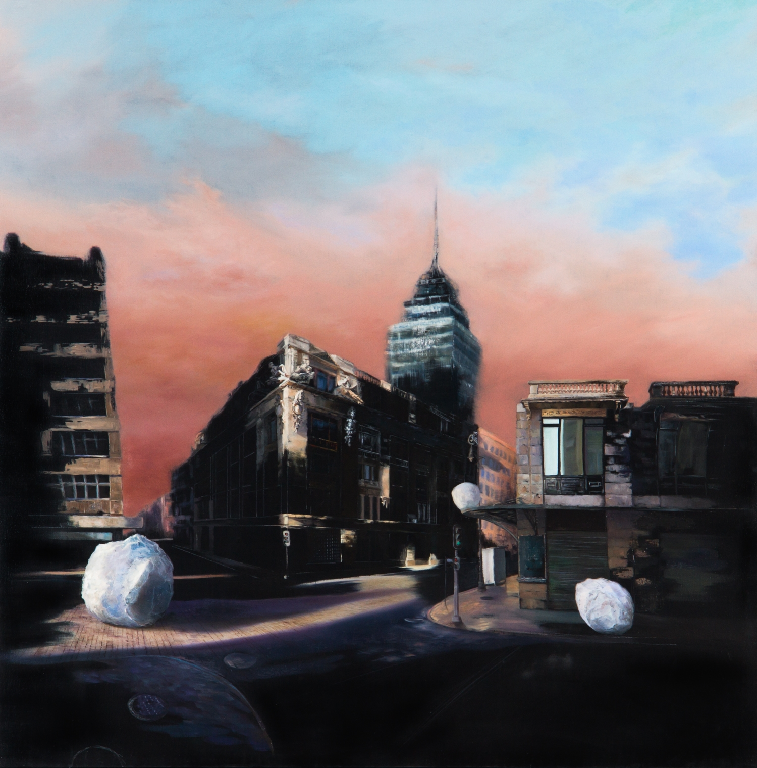 Mañana Desaparece ,Óleo sobre tela,150 x 150 cm,2010    Tomorrow Disappears ,  Oil on canvas,4' 11'' x 4' 11'',2010