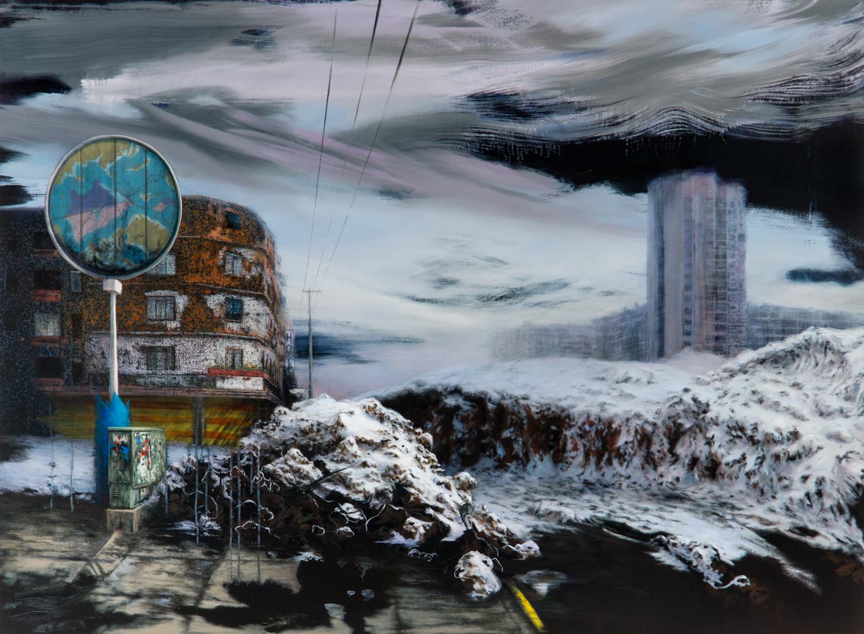 La Construcción del Paisaje ,Óleo y acrílico sobre tela,110 x 150 cm,2011     The Construction of Landscape ,Oil and acrylic on canvas, 3' 7.3''x 4' 11'', 2011