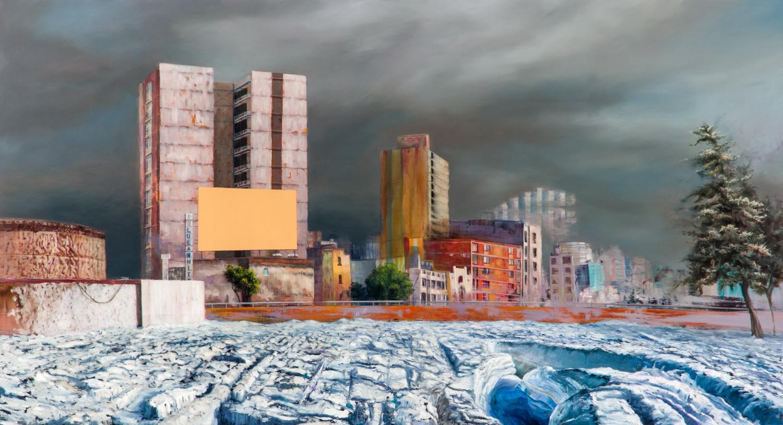 Blue & White    Óleo y Acrílico / Tela    87 x 160 cm 2009    Blue & White    Oil and acrylic on Canvas 2' 10.2''    x 5' 3'' 2009