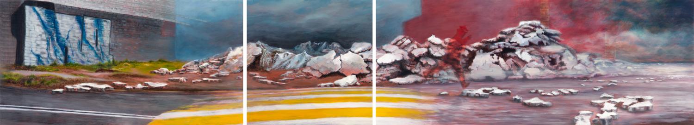 El Salto    Óleo y Acrílico / Madera 46 x 250 cm 2009    The Jump    Oil and acrylic on wood 1' 6.1'' x 8' 2.42'' 2009