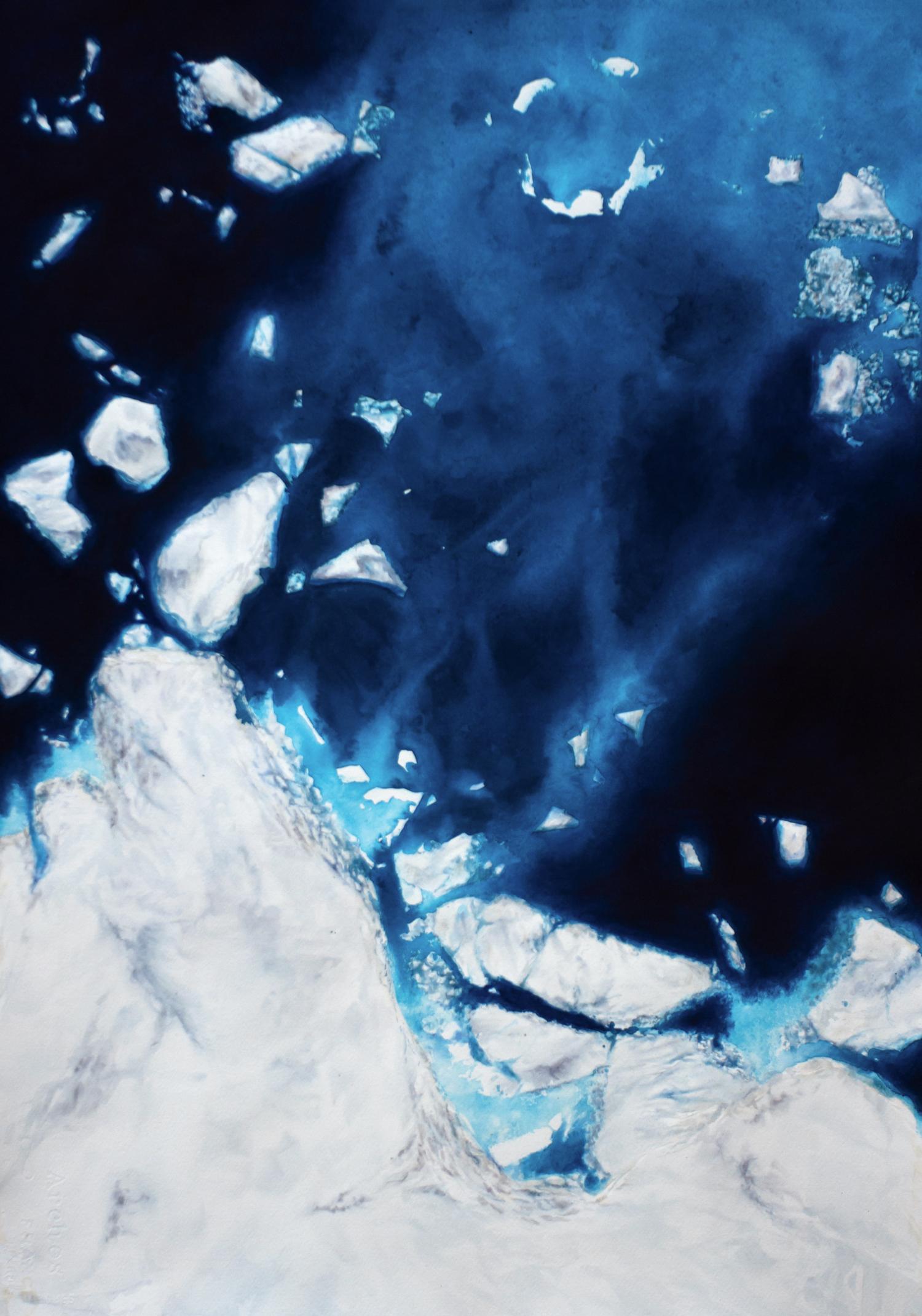 Coordenadas Antárticas III  Acrílico / Papel, 70 x 50 cm, 2012   Antarctic Coordinates III  Acrylic / Paper, 2' 3.5'' x 1' 7.7'', 2012