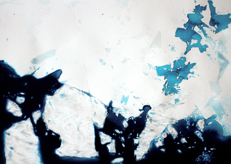 Coordenadas Antárticas VI  Acrílico / Papel, 50 x 70 cm, 2012   Antarctic Coordinates VI  Acrylic / Paper, 1' 7.7'' x 2' 3.5'', 2012