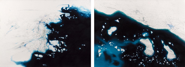 Coordenadas Antárticas IX, X (Díptico) Acrílico / Papel, 55 x 155 cm, 2012   Antarctic Coordinates IX, X (Diptych) Acrylic / Paper, 1' 9.6'' x 5' 1'', 2012