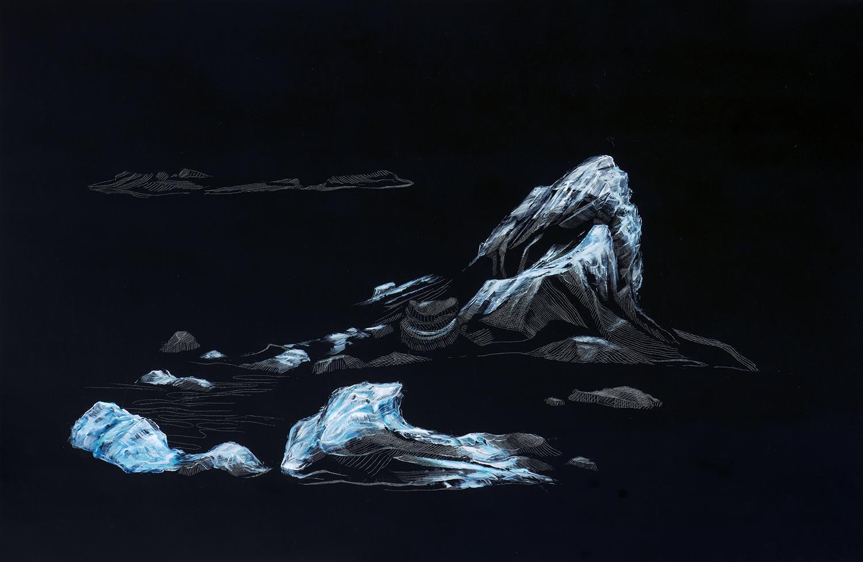 Reflejo de Jökulsárlón I     Óleo / Placa de Acrílico,40 x 60 cm,2015     Reflection of    Jökulsárlón I    Oil / Acrylic Plaque, 1' 3.7'' x 1' 11.6'', 2015