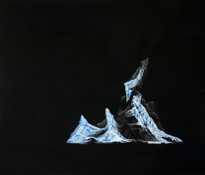 Reflejo de Jökulsárlón V    Óleo / Placa de Acrílico,65 x 75 cm, 2015     Reflection of Jökulsárlón V    Oil / Acrylic Plaque, 2' 1.6'' x 2' 5.5'', 2015