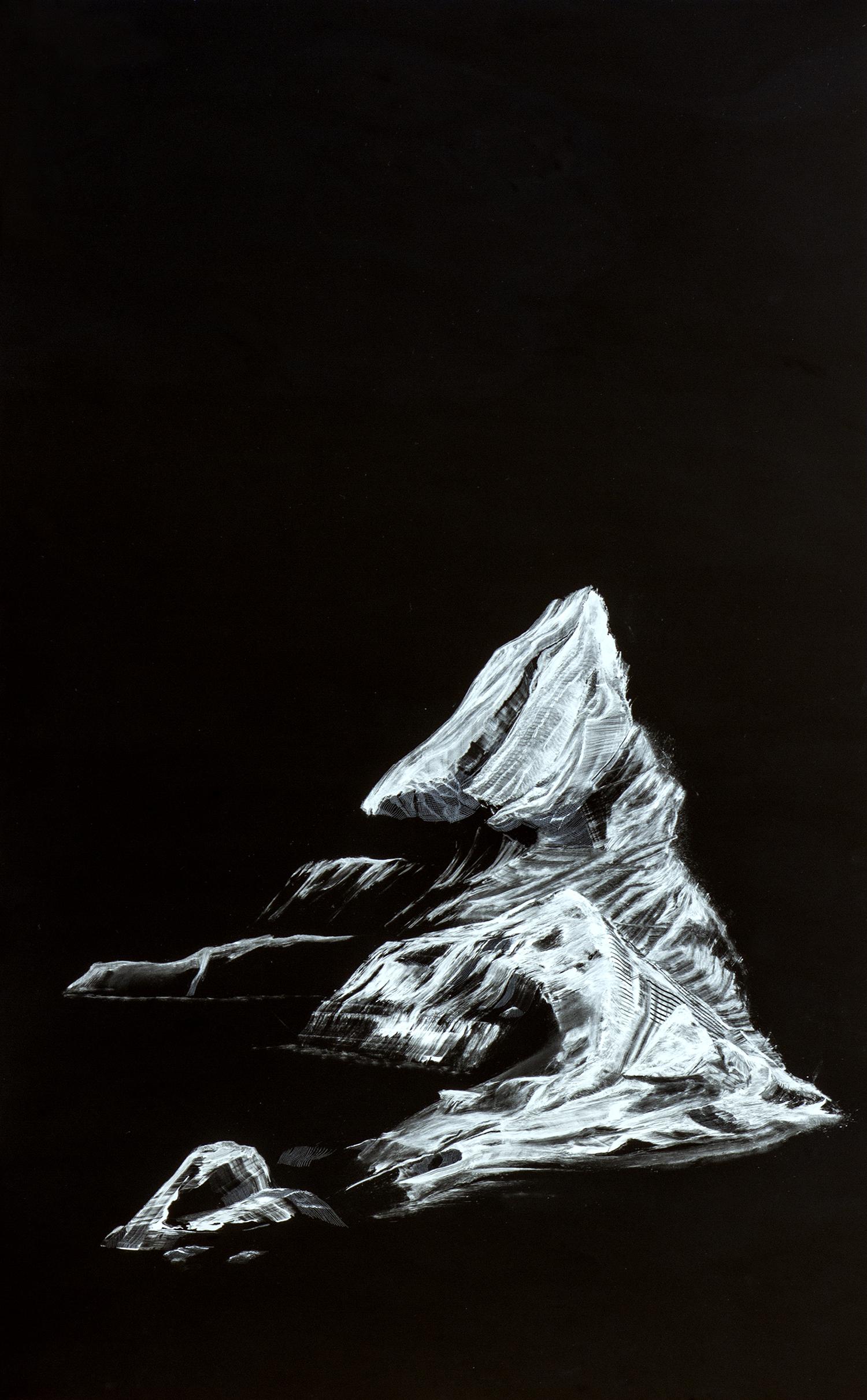 Aparece un Iceberg    Esmalte / Placa de Acrílico,100 x 60 cm, 2015     An Iceberg Appears   Ennamel / Acrylic Plaque, 3' 3.3'' x 1' 11.6'', 2015