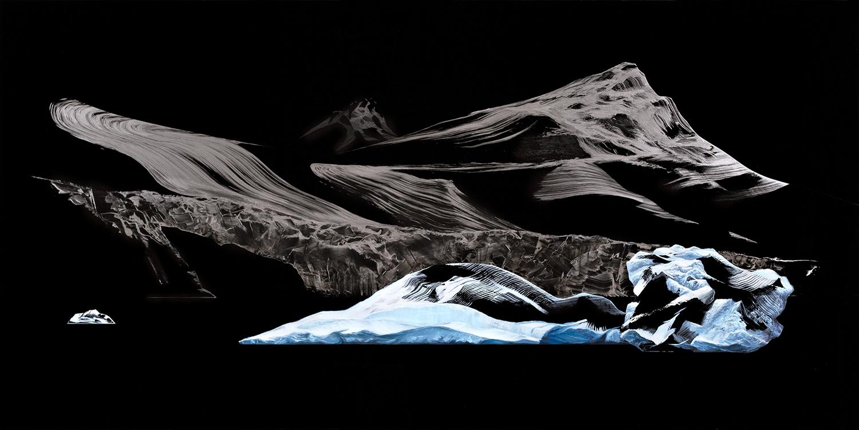 Reflejos en Antártica    Óleo y Esmalte / Placa de Acrílico,70 x 140 cm, 2015     Reflections in Antarctica    Oil, ennamel / Acrylic Plaque, 2' 3.6'' x 4' 7.1'', 2015