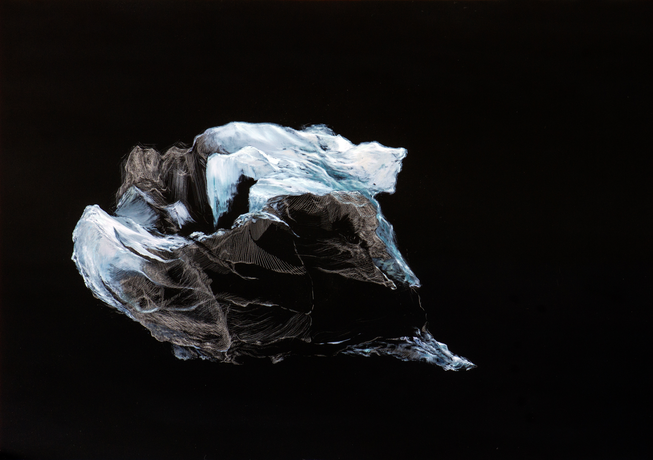 "Your Eyes on the Ice (North) , Oil on Acrylic Plate, 16"" X 87"", 2015"