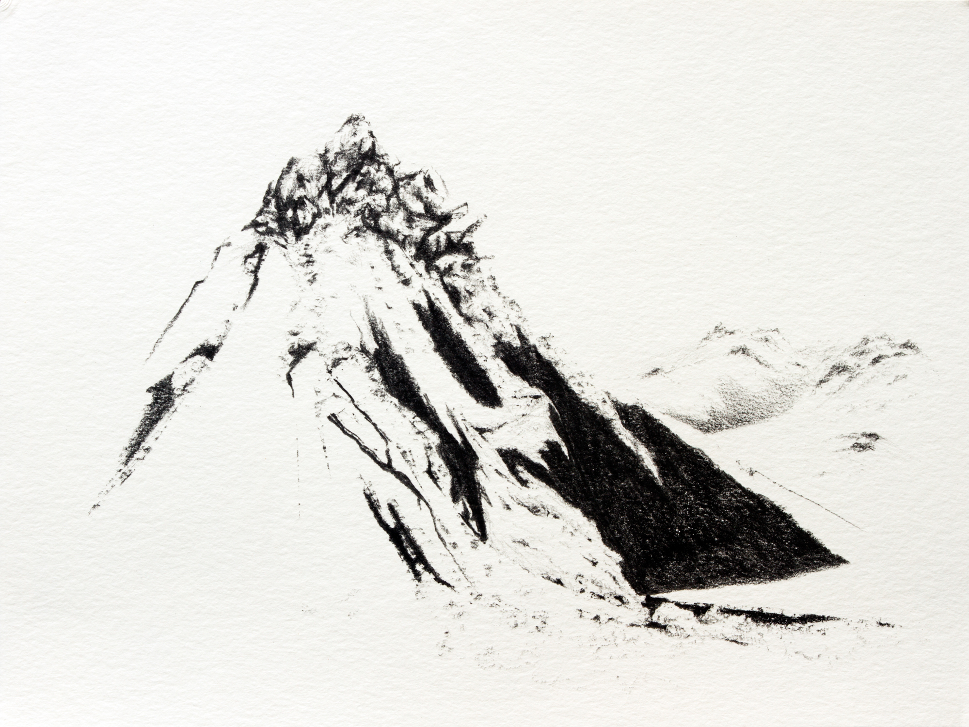 "The Construction of the Mountain , Graphite on Paper, 9"" X 13"", 2016"