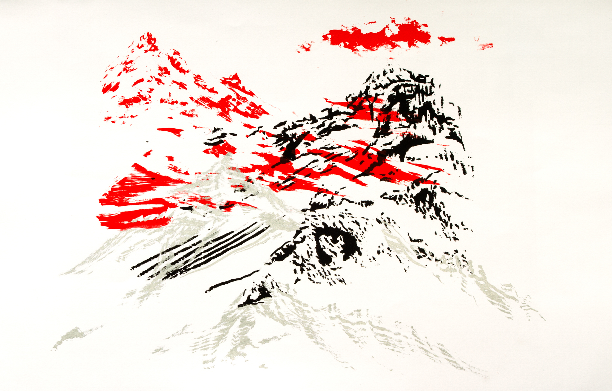 "Mountains in Juxtaposition , Serigrahy and Offset Ink on Paper, 17"" X 11"", 2016"