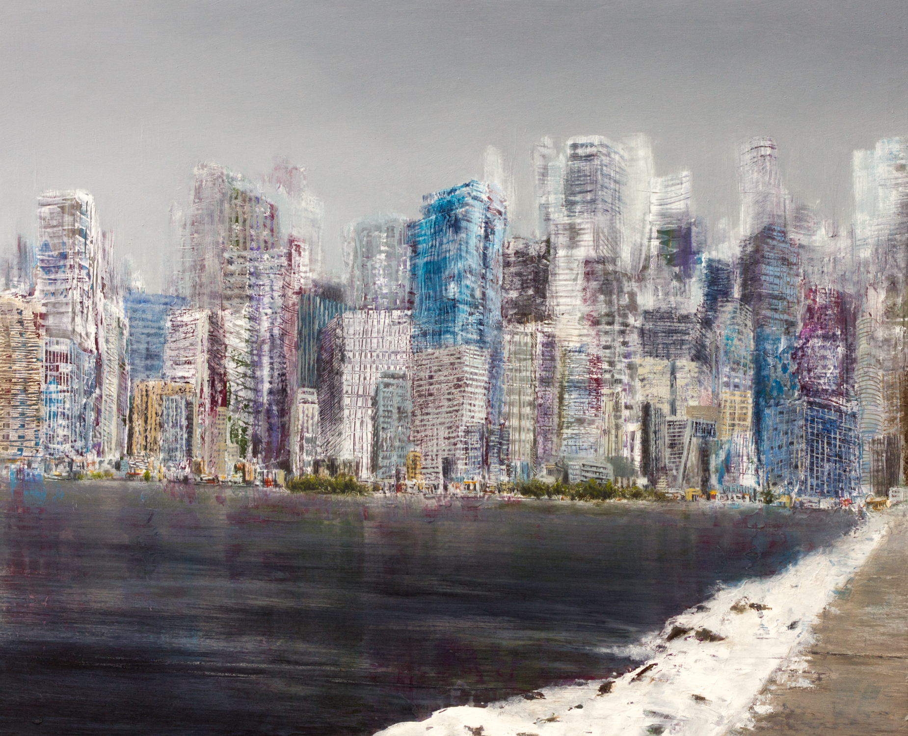 "Dream of a City III , Oil on Wood, 13"" X 15"", 2015"
