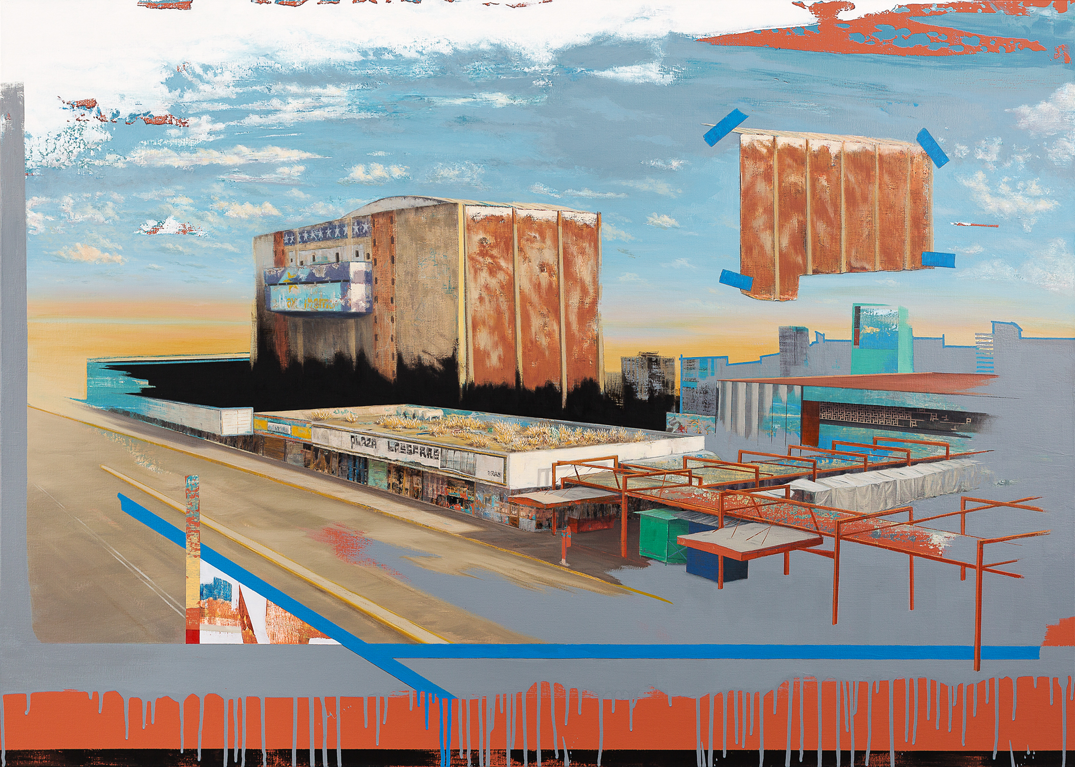 "Cinema Edition I - Tlatelolco  , Oil and Acrylic on Canvas  39"" X 55""  2017"