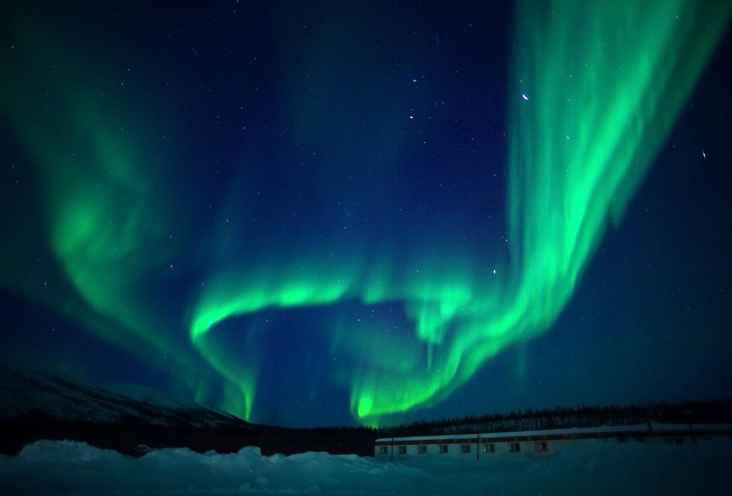 Photo of the aurora borealis over the South Inn by Kenji Sato.