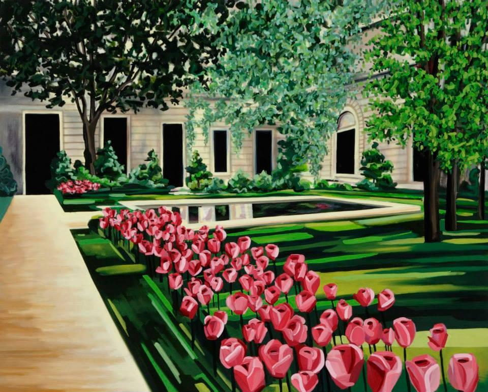 "Untitled Frick Garden   48"" x 60""   Oil on Canvas   ©Annika Connor"