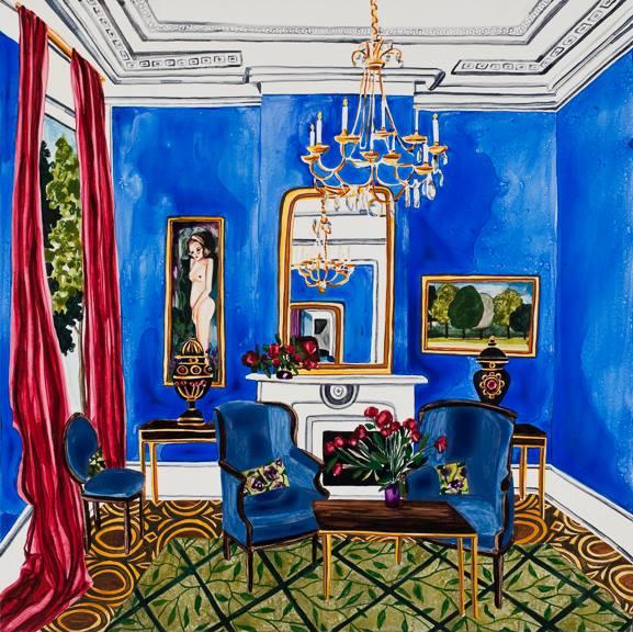 """Blue Room watercolor 24"""" x 24""""     ©Annika Connor"""