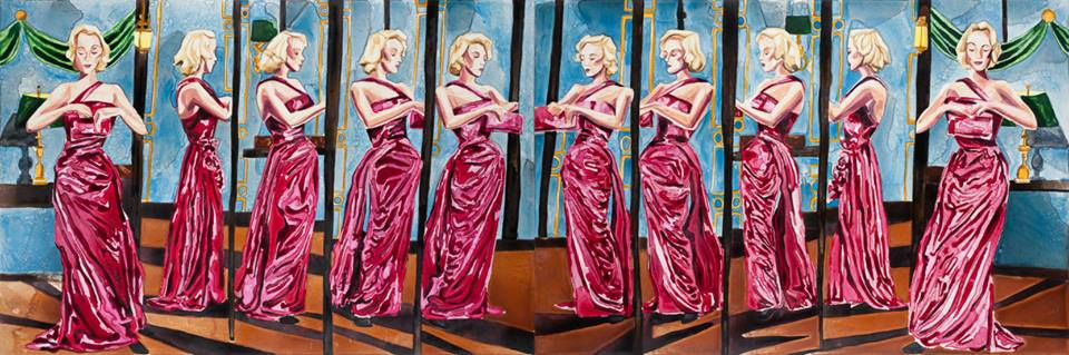"""Marilyn Multiplied 1 & 2   24"""" x 72"""" each   watercolor on board   Sold as a set    ©Annika Connor"""