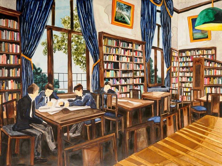 """Library 1 watercolor 18"""" x 24""""     ©Annika Connor"""