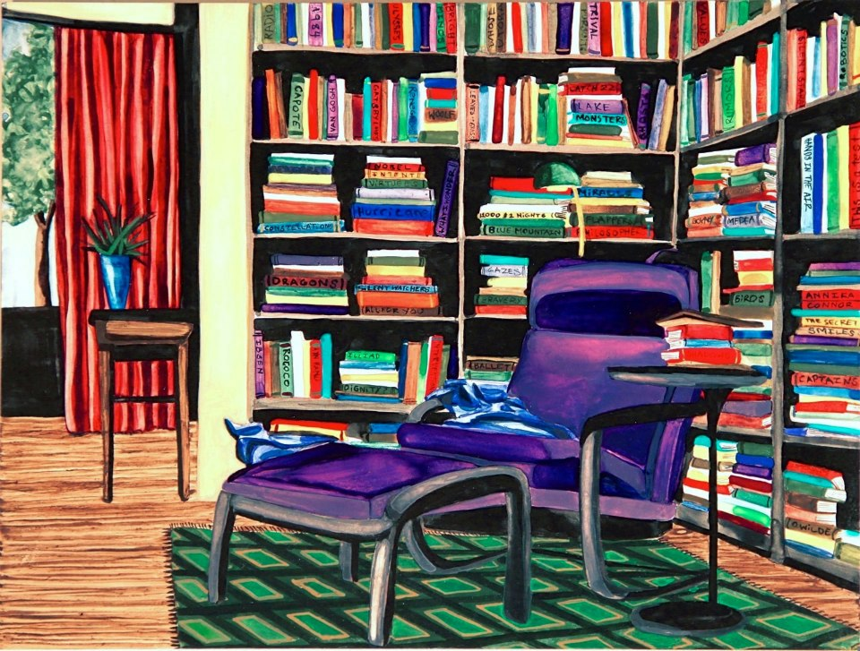 """Untitled Library watercolor 9"""" x 12""""     ©Annika Connor"""