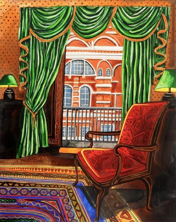 """Untitled London Interior watercolor 20"""" x 16""""     ©Annika Connor"""