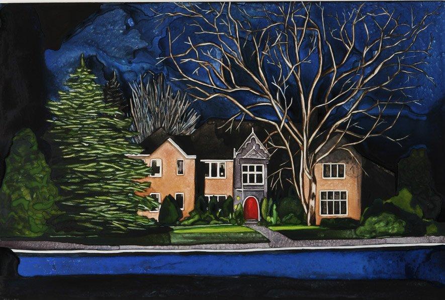 """Seeker Street watercolor 24"""" x 36""""     ©Annika Connor"""