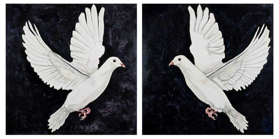"Dove Diptych   watercolor   30"" x 30"" each panel"