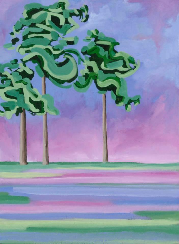 "Pink Trees 19"" x 14"" Oil on linen"