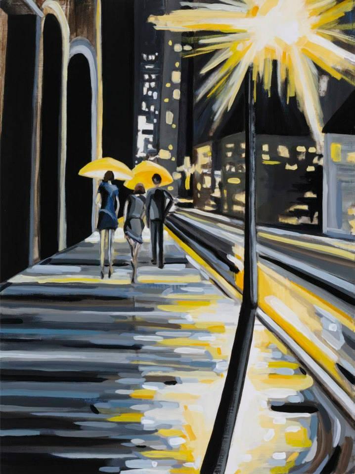 "Manhattan Rain   24"" x 18"" oil on board   ©Annika Connor"
