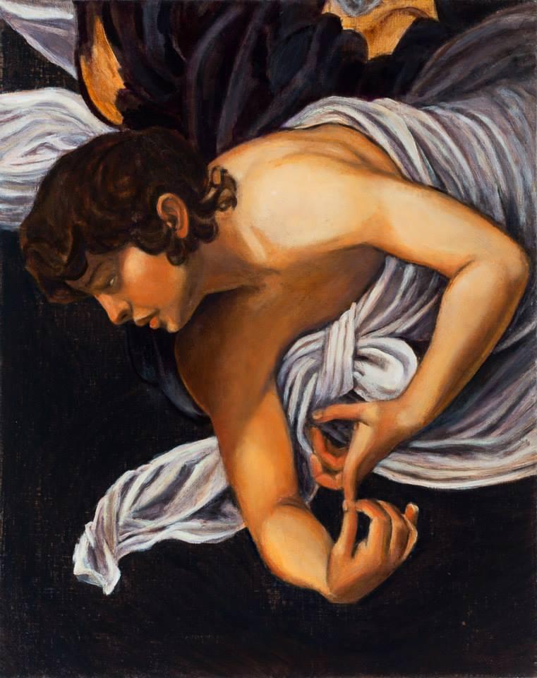 """Caravaggio Interpretation   Oil on Linen   20"""" x 16""""   ©Annika Connor"""