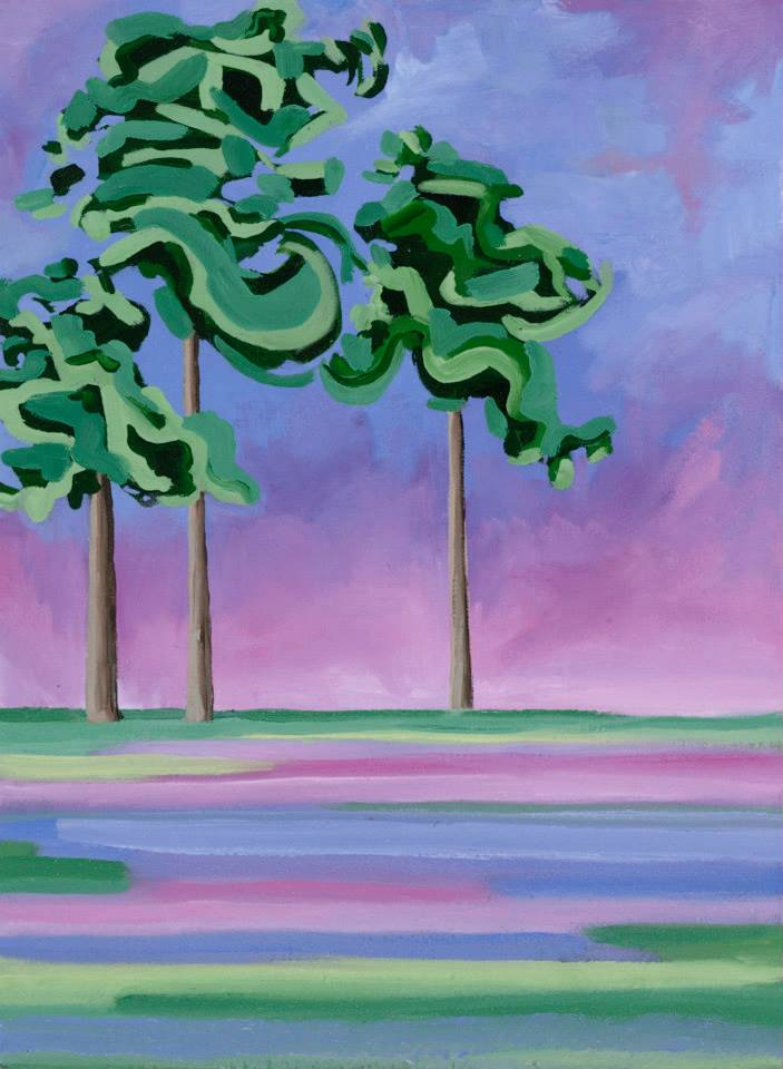 """Pink Trees   19"""" x 14""""   Oil on linen   ©Annika Connor"""