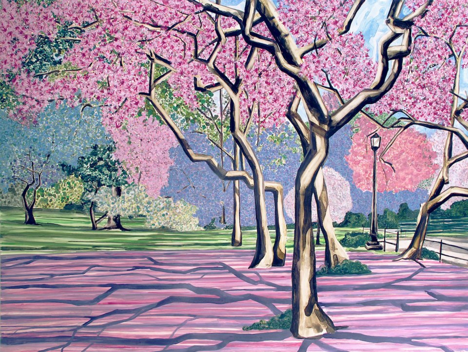 """Cherry Blossom Forest   watercolor   30"""" x 40"""""""