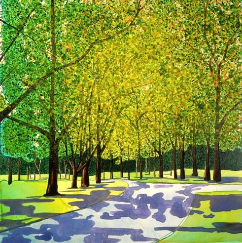 """Spring Forest   watercolor   24"""" x 24"""""""