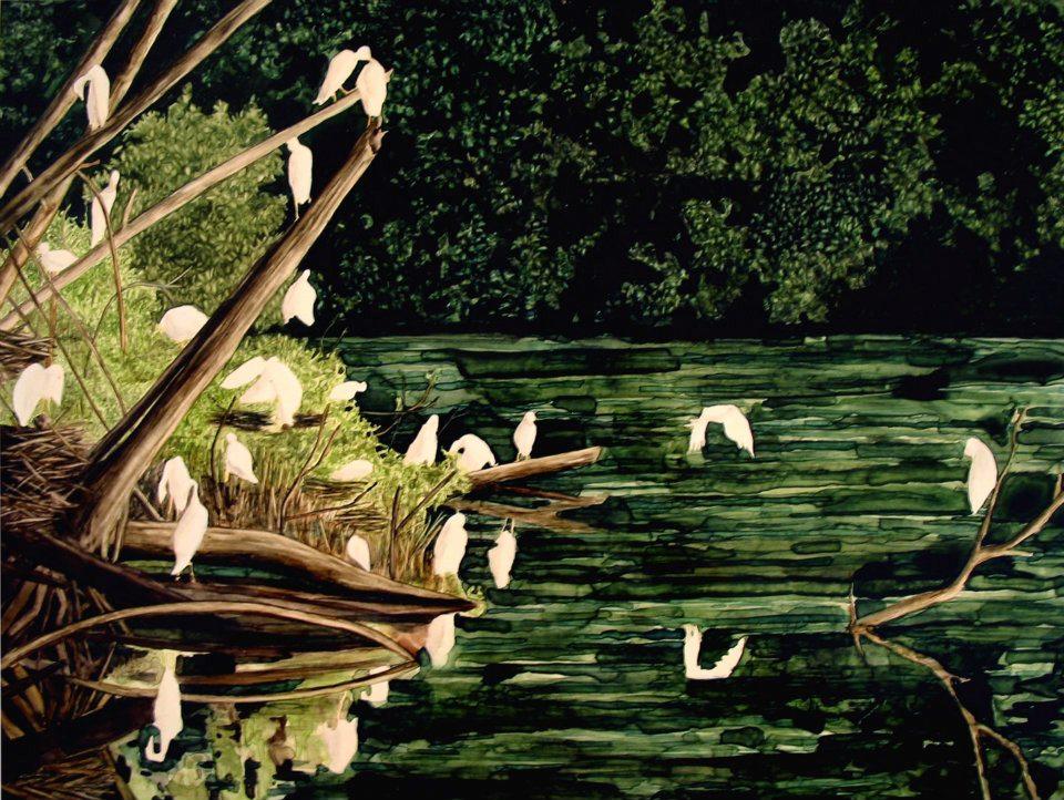 """Bird Water Rock   watercolor   12"""" x 16"""""""