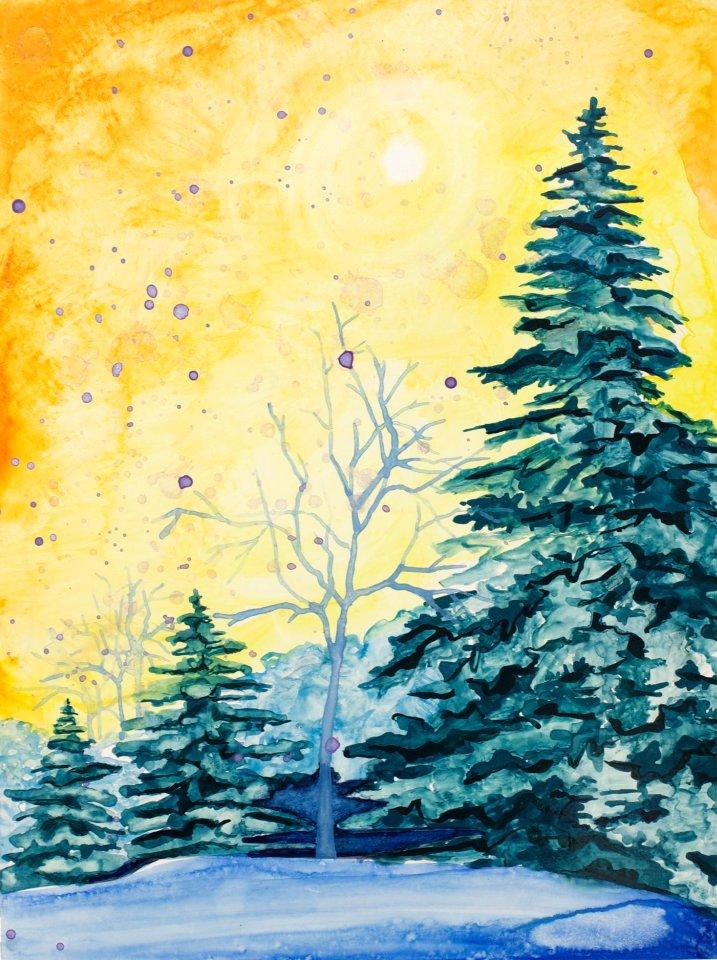 "Untitled Winter 12"" x 9"" watercolor on board"