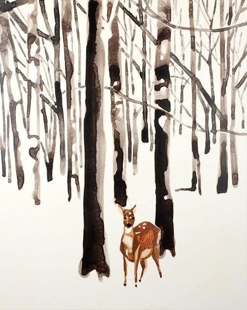 "Deer in Snow Forest   watercolor   20"" x 16"""