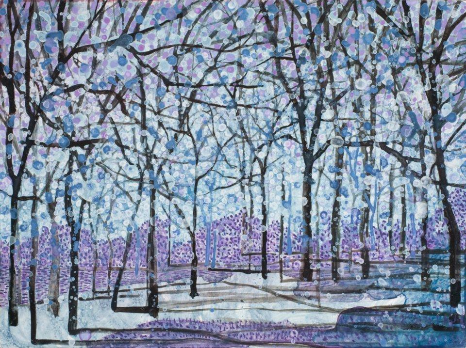 "Purple Snow   watercolor   9"" x 12"""