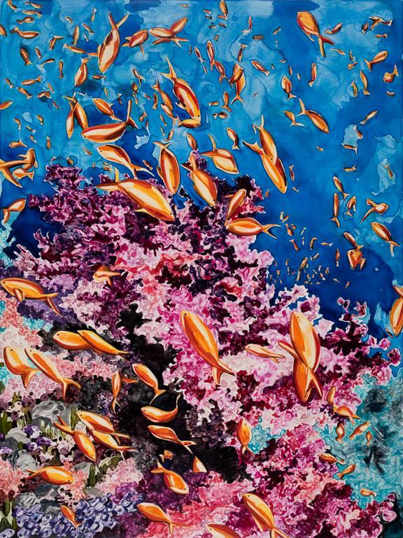 """Ocean's Kingdom   watercolor   40"""" x 30"""""""