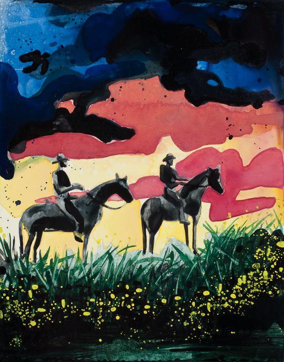 "Sunset Cowboys   watercolor   12"" x 9"""