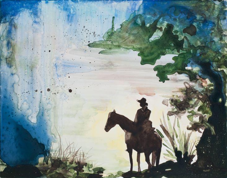 """Lone Cowboy   watercolor   9"""" x 12"""""""