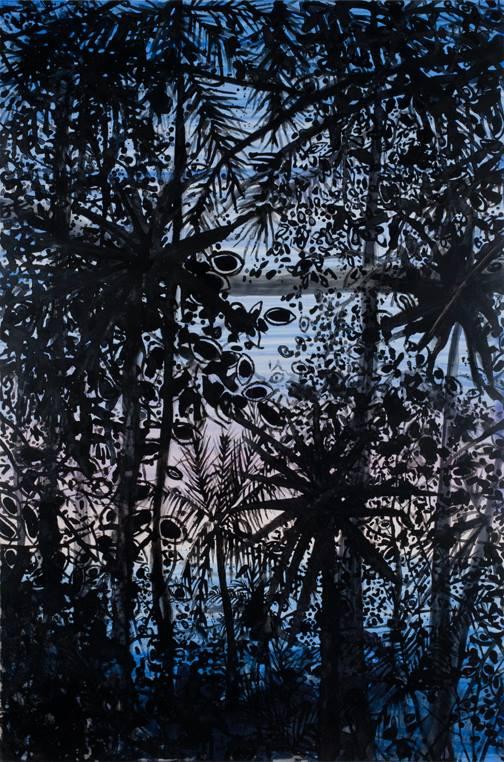 "Mustique Jungle   watercolor   36"" x 24"""
