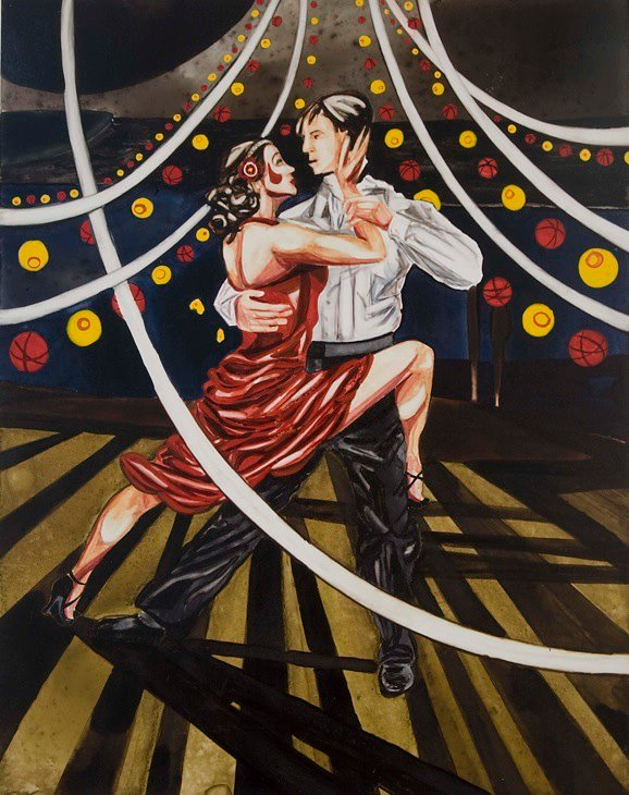 "Tango   watercolor   12"" x 9"""