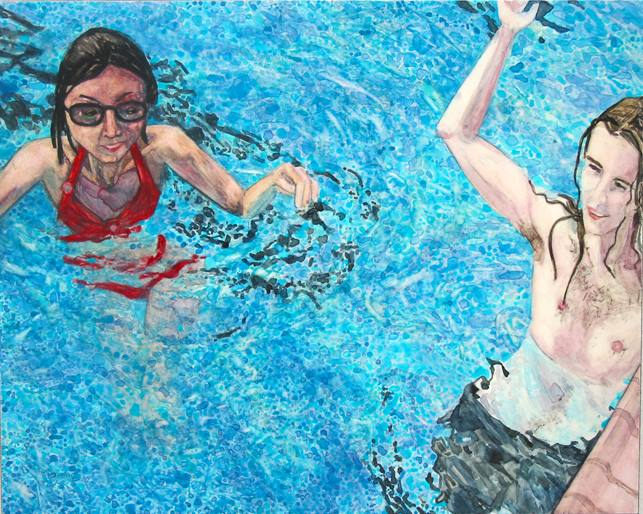 "Summertime Swim   watercolor   9"" x 12"""