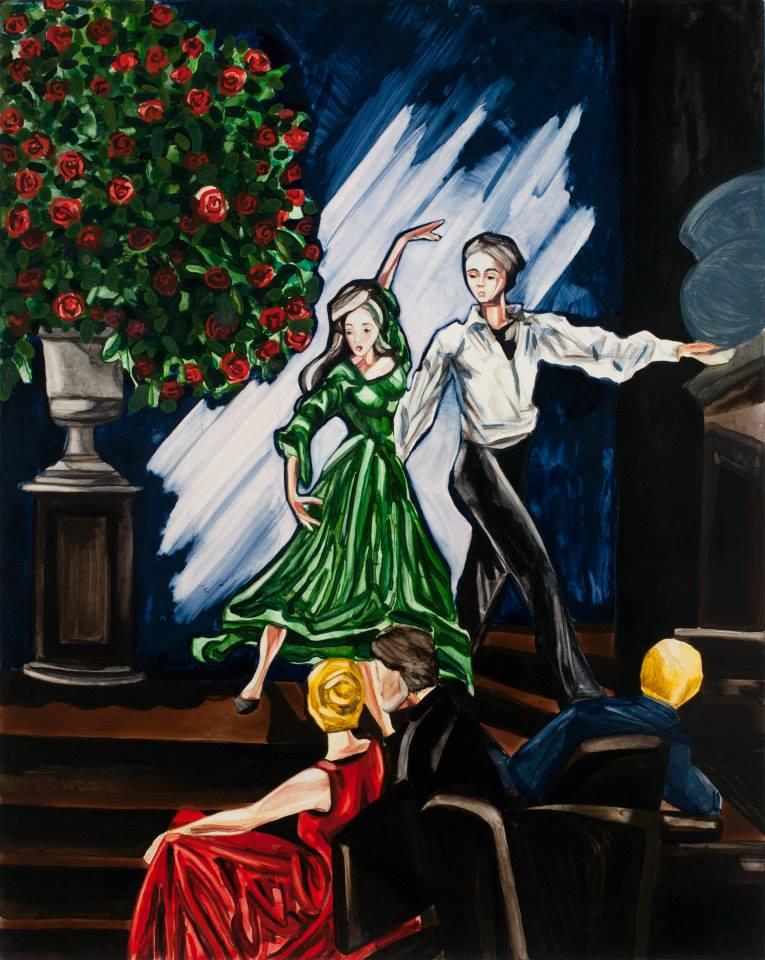"""Flamenco   24"""" x 18""""   Watercolor on board"""