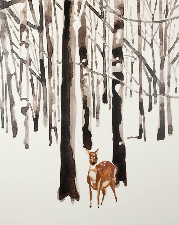 "Deer in Snow Forest   watercolor on board   20"" x 16"""
