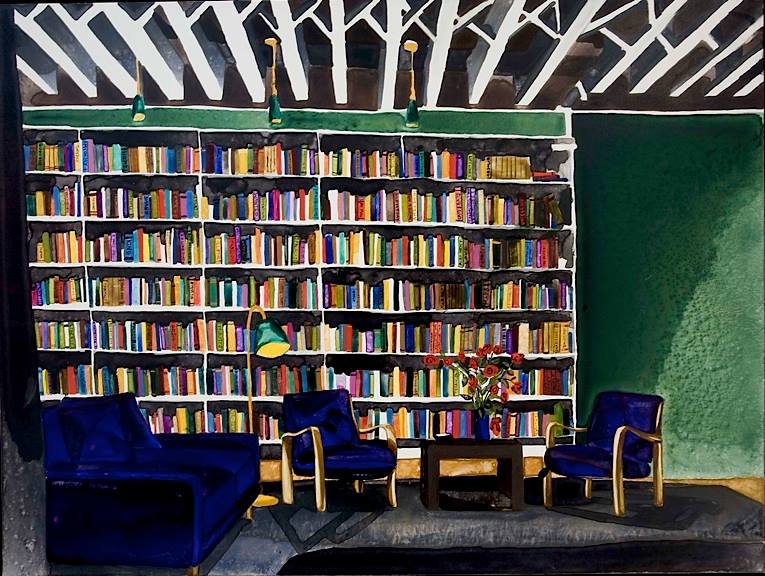 """Library 2   watercolor on board   18"""" x 24"""""""