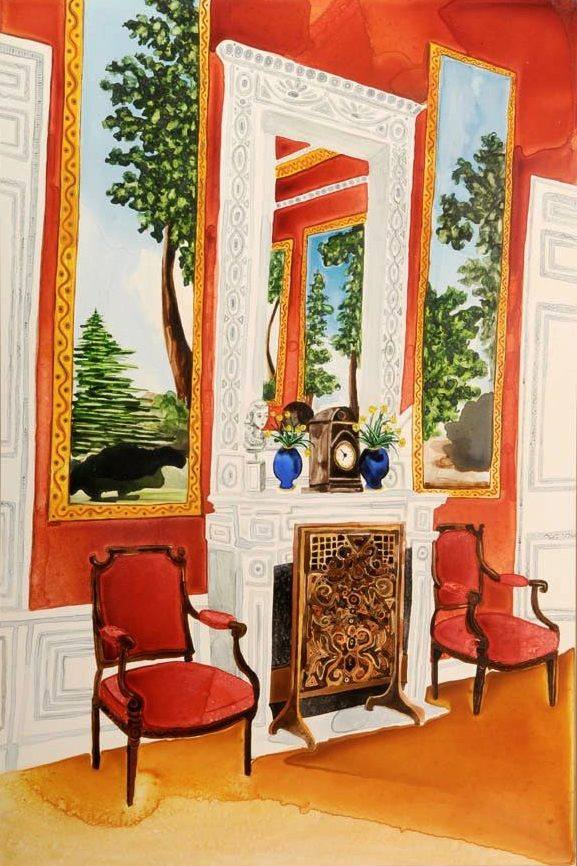 """Red Room   Watercolor   36"""" x 24"""""""