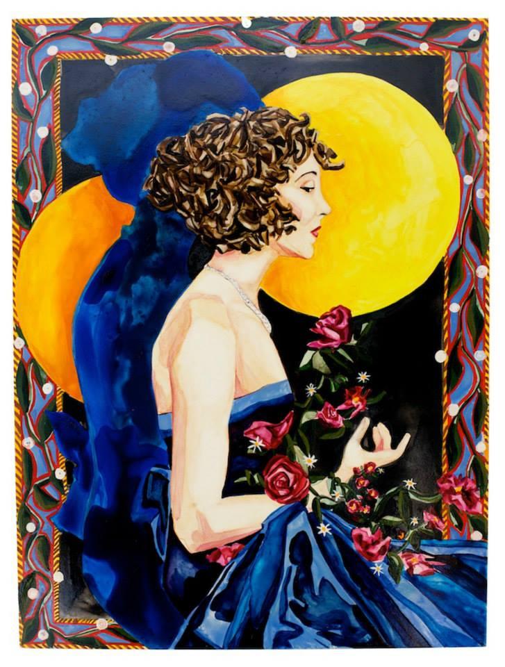 "Midnight Moon   12"" x 9""   watercolor"