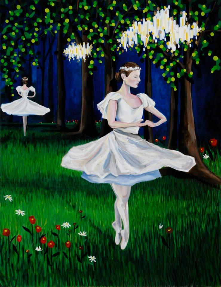"""Untitled Ballerinas in the Garden   62"""" x 48""""   Oil on canvas   ©Annika Connor"""